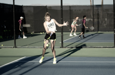 """Eugenie Bouchard hitting a forehand at """"Tennis with the Stars"""" in 2016. Photo: Alex Huggan/ACEing Autism"""