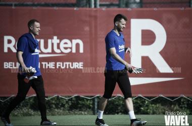 Ter Stegen y Neto en la Ciudad Deportiva.FOTO: Noelia Déniz