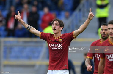 Roma's Nicolo Zaniolo celebrates his opening goal in their victory over Napoli last weekend (Getty Images/Giuseppe Mafia/NurPhoto)
