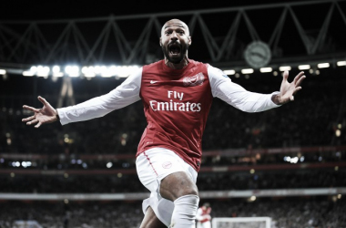 Thierry Henry celebrates in disbelief, scoring minutes into his emotional Arsenal return in 2012 against Leeds United in the FA Cup