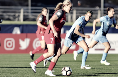 Lindsey Horan able to head home sixth goal of season (Photo via nwslsoccer.com)