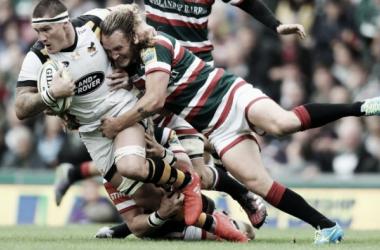Sam Harrison tackles Guy Thompson during the midland derby (image via: premiershiprugby.com)