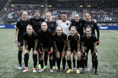 The Thorns prior to kickoff against the Chicago Red Stars during the Portland Invitational | Source: Jenny Chuang - VAVEL USA