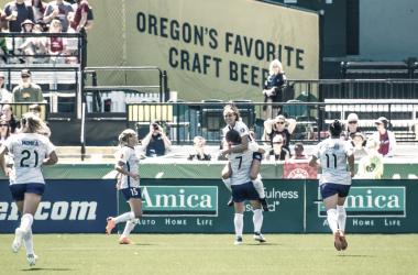 The Pride celebrate Morgan's goal in Portland l photo: Nikita Tapari