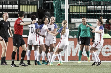 USWNT U-23 squad celebrating after Michelle Xiao scored off a rebound from a penalty kick | Souce: Craig Mitchelldyer