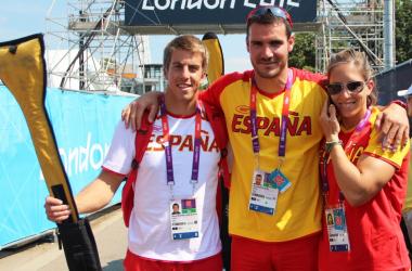 Los tres palistas al finalizar la competición de semifinales /  Nacho Casares