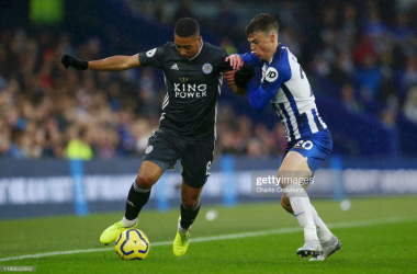 Youri Tielemans holds off Brighton's Solly March in last seasons 2-0 victory at the Amex | Photo: Getty/ Charlie Crowhurst