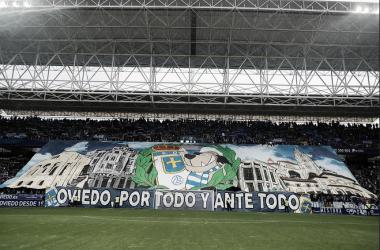 Tifo presentado en el derbi la temporada 17/18. Fuente: Real Oviedo