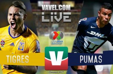 Resultado y goles del Tigres 4-0 Pumas de la Liga MX 2017