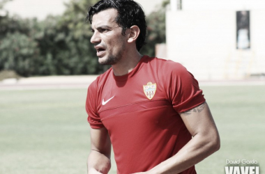 Tino Costa, durante un entrenamiento con la UD Almería. (FOTO: David García - VAVEL)
