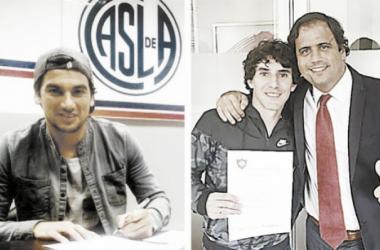 Costa y Corujo firmando los contratos en San Lorenzo. Foto: Tango Diario