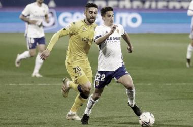 Sergio Bermejo durante el encuentro ante la AD Alcorcón. // Imagen: Tino Gil (Web Real Zaragoza).