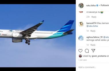 Ratu Tisha Posting Foto Garuda Indonesia, Netizen pun Bereaksi