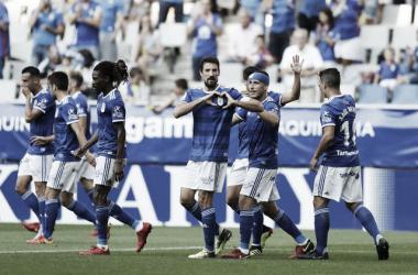 Buenos tiempos aquellos, Toché celebra un gol junto a Boateng, Christian y Berjón. Imagen; RealOviedo