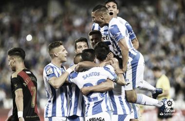 El CD Leganés celebrando su gol frente al Rayo Vallecano | Foto: LaLiga Santander