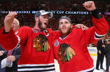 Jonathan Toews and Patrick Kane celebrate their third Stanley Cup together. (Photo Credit: Dennis Wierzbicki)