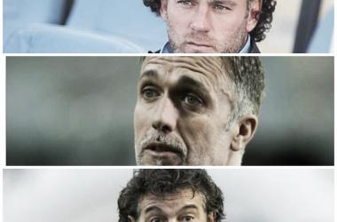 LOS INTERESADOS: Milito(arriba),Batistuta(medio) y Romano(abajo) son firmes candidatos por la dirigencia del Tomba. Foto: Nicolás Castillo-Vavel Argentina