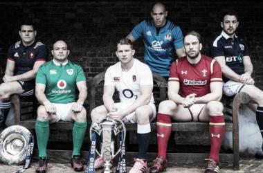Foto: De izquierda a derecha. Guilhem Guirado (Francia), Rory Best (Irlanda), Dylan Hartley (Inglaterra), Sergio Parisse (Italia), Alun Wyn Jones (Gales) y Greig Laidlaw (Escocia), listos para ir en busca de la corona europea. Crédito: Sky Sports
