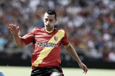 Le Lensois Yoann Touzghar a relancé le RC Lens en marquant le premier but. (Crédit : lavoixdunord.fr)