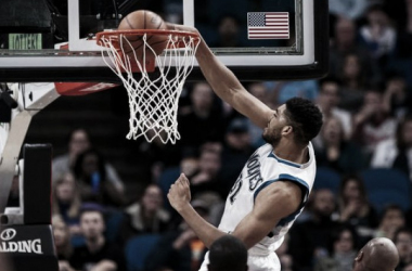 Karl-Anthony Towns leads Timberwolves to victory. Photo: Brad Rempel/USA TODAY Sports