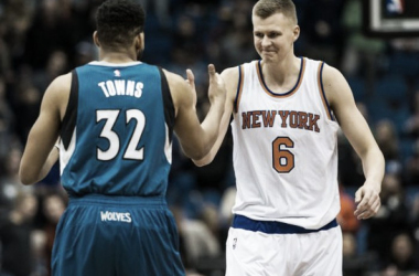 Karl-Anthony Towns and Kristaps Porzingis were the toast of the 2015 rookie class (Photo: Brace Hemmelgam, USA Today Sports)