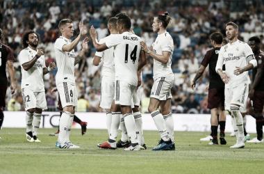 Los jugadores del Real Madrid celebran uno de los goles | Foto: Realmadrid.com