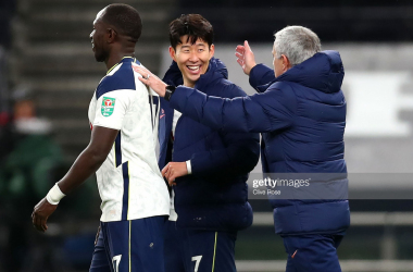 <div>LONDON, ENGLAND - JANUARY 05: Jose Mourinho, Manager of Tottenham Hotspur celebrates with Son Heung-Min and Moussa Sissoko of Tottenham Hotspur following the Carabao Cup Semi Final between Tottenham Hotspur and Brentford at Tottenham Hotspur Stadium on January 05, 2021 in London, England. (Photo by Clive Rose/Getty Images)</div><div><br></div>