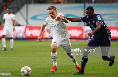 Trossard (left) in action for Genk against Anderlecht. Image courtesy ofVincent Van Doornick/Isosport from MB Media on Getty Images.