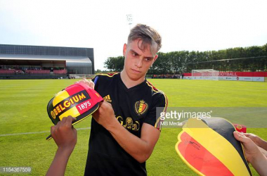 Leandro Trossard with the Belgium squad back in June ahead of their Euro 2020 qualifiers. Image courtesy ofVincent Van Doornick from MB Media on Getty Images.