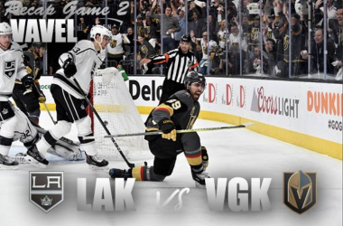 Alex Tuch celebrates a 1st-period goal againstthe Kings in Game 2. (Photomontage: Vavel)