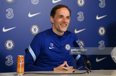 Thomas Tuchel of Chelsea during a press conference at Chelsea Training Ground on April 2, 2021 in Cobham, England. (Photo by Darren Walsh/Chelsea FC via Getty Images)