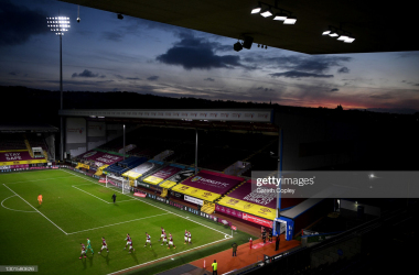 BURNLEY, ENGLAND - FEBRUARY 09: General view inside the stadium as players of Burnley walk out prior to The Emirates FA Cup Fifth Round match between Burnley and AFC Bournemouth at Turf Moor on February 09, 2021 in Burnley, England. Sporting stadiums around the UK remain under strict restrictions due to the Coronavirus Pandemic as Government social distancing laws prohibit fans inside venues resulting in games being played behind closed doors. (Photo by Gareth Copley/Getty Images)