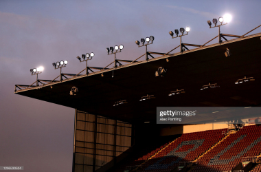 BURNLEY, ENGLAND - JANUARY 09: A view of empty seats during the FA Cup Third Round match between Burnley and Milton Keynes Dons at Turf Moor on January 09, 2021 in Burnley, England. The match will be played without fans, behind closed doors as a Covid-19 precaution. (Photo by Alex Pantling/Getty Images)