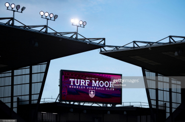 BURNLEY, ENGLAND - MAY 03: The electronic scoreboard welcoming people to Turf Moor during the Premier League match between Burnley and West Ham United at Turf Moor on May 3, 2021 in Burnley, United Kingdom. Sporting stadiums around the UK remain under strict restrictions due to the Coronavirus Pandemic as Government social distancing laws prohibit fans inside venues resulting in games being played behind closed doors. (Photo by Visionhaus/Getty Images)