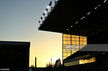 BURNLEY, ENGLAND - MAY 19: A silhouette of the stadium as the sun sets during the Premier League match between Burnley and Liverpool at Turf Moor on May 19, 2021 in Burnley, England. A limited number of fans will be allowed into Premier League stadiums as Coronavirus restrictions begin to ease in the UK. (Photo by Clive Mason/Getty Images)