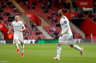 Tyler Roberts celebrates his first Premier League goal during the clash between Southampton and Leeds United on May 18, 2021 (Photo by Frank Augstein - Pool/Getty Images)