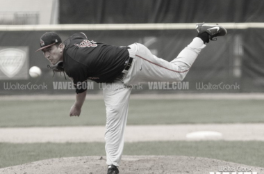 Ball State starting pitcher Kevin Marnon (18) gets the win. Photo: Walter Cronk