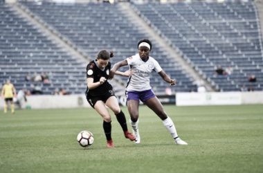 Chioma Ubogagu (right) scored her third goal of the season in a 2- win on the road against the Chicago Red Stars. | Photo Courtesy @ORLPride