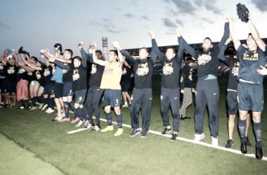 Celebración de los jugadores del UCAM en el Alfredo Di Stefano. Imagen: UCAM Murcia.