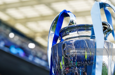 <div>PORTO, PORTUGAL - MAY 29: A general view of the UEFA Champions League trophy during the UEFA Champions League Final between Manchester City and Chelsea FC at Estadio do Dragao on May 29, 2021 in Porto, Portugal. (Photo by Matt McNulty - Manchester City/Manchester City FC via Getty Images)</div>