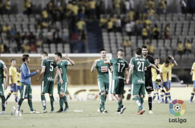 Jugadores del Eibar celebran la victoria en el Estadio de Gran Canaria - Fotografía: LFP