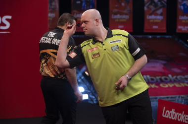 Van Gerwen beat De Sousa on Saturday evening (Photo: Chris Dean/PDC)
