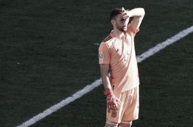 Unai Simón durante el duelo ante Croacia. // Imagen: Wolfgang Rattay, AFP