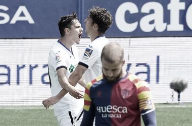 Celebración del gol de Ünal en el Huesca vs Getafe, El Alcoraz // Fuente: Getafe CF