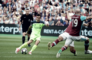 Coutinho in un precedente tra West Ham e Liverpool