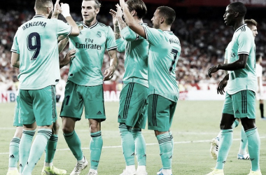 Los jugadores del Real Madrid celebran el gol de Benzema / Foto: Real Madrid