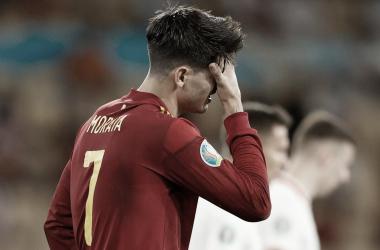 Morata lamentándose por una ocasión fallada / FOTO: UEFA