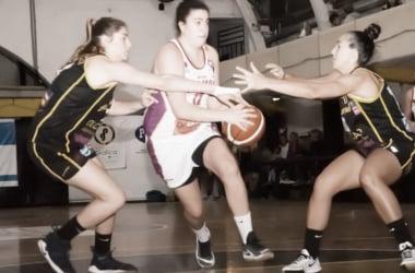 La defensa aurinegra le incomoda la llegada al aro a Sabrina Scevola. Fuente :LaLigaFemenina.com.