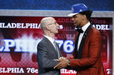 Jahlil Okafor, right, is greeted by NBA Commissioner Adam Silver after being selected third overall by the Philadelphia 76ers during the NBA basketball draft, Thursday, June 25, 2015, in New York. (AP Photo/Kathy Willens) - See more at: http://readingeagl
