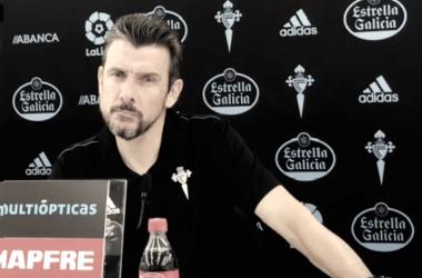 Juan Carlos Unzué en la rueda de prensa previa al partido contra el Valencia. | Foto: RC Celta